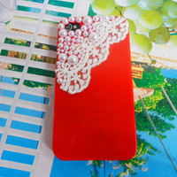 Pearl lace flash shell red iphone 4 Hard Case Cover For Apple iPhone 4 Case, iPhone 4s Case, iPhone 4 gs Case,  case cover-0201