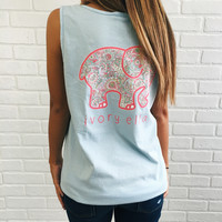 Pocketed Sky Blue Baja Beach Paisley Tank