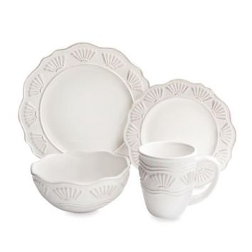 American Atelier Bianca Shell 16-Piece Dinnerware Set in White