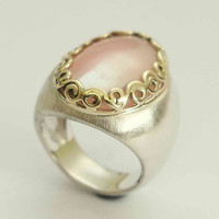 Sterling silver and yellow gold crown ring with rose quartz - Forever in love.