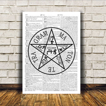 Modern decor Pentacle print Occult poster Witch art RTA368