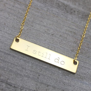 Double sided personalized gold bar necklace
