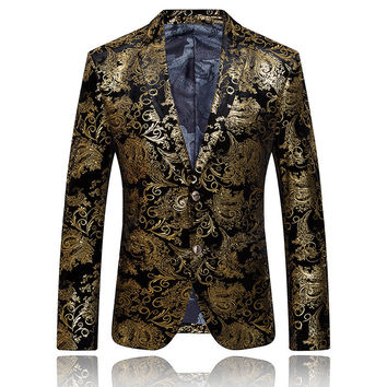 Gold Blazer For Men Mens Embroidered Blazer Chaqueta Hombre Formal Jacket Stage Costumes For Singers Party Wedding Dress Q51