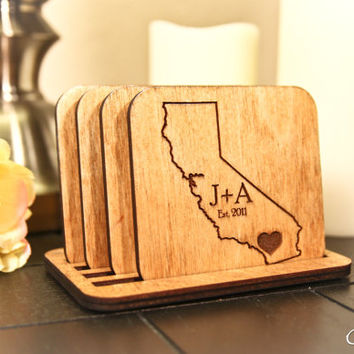 Custom Engraved Wooden State Outline + Couple Initials with Date + Heart Coasters