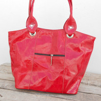 Red leather tote, Shoulder Shopping Womens College School Bag, Girls Handmade Leather Handbag, Gift For Her