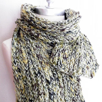 Sage Green Knit Scarf,  Extra Wide Fall Scarf,  Fashion Knitwear, Fall Essentials