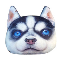 Black Fierce Husky Dog Cushion