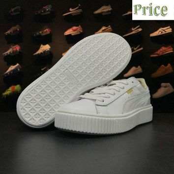 How To Buy 2018 Rihanna x PUMA Basket Suede Platform Fenty Creeper White sneaker