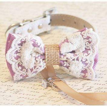Bohemian Dog Bow Tie collar, Lavender Lace and Burlap, ring bearer wedding, Rustic, Proposal