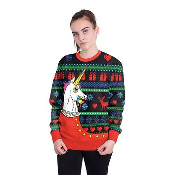 Unicorn 3D Print Women Christmas Party Sweatshirt