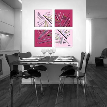 "Original abstract painting. 4 piece canvas art. 26x26"" Large painting with girly colors. Pink, magenta, gold, silver, black."