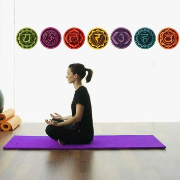 Color Mandala Chakras Yoga Meditation Symbol Wall Art Decals For Living Room Removable Wallpaper Home Decor Bedroom Wall Decals