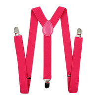 Hot Pink Adjustable Unisex Removable Suspenders for Pants