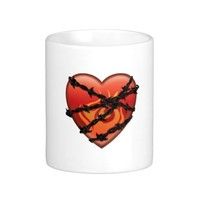 Flaming Heart with Barbed Wire Coffee Mug