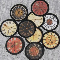 Paper Clock Face Embellishments - Series 1 - Set of  TEN - for scrapbooking,cardmaking, ACEO and other altered art.