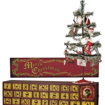 Vintage Merry Christmas Advent Chest & Tree