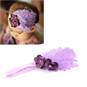 Cute Infant Baby Toddler Feather Flower Rhinestone Hairband Headband Purple = 1705755844