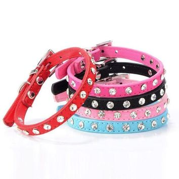 MDIGYN5 Super Deal Rhinestone Adjustable Leather Dog Puppy Cat Collars Necklace Neck #01