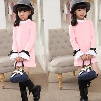 Spring Autumn Girls Clothes Long Sleeve Kids Dresses for Girls 2017 New Arrival Fashion Childrens T-shirts Dress