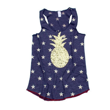 Pineapple Stars and Stripes Sequin Tank