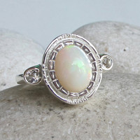 Opal Engagement Ring- Unique Engagement Ring- Art Deco Engagement Ring- Gemstone Ring- October Birthstone Ring- Gifts for Her