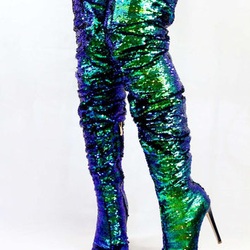 Julia Sequin Sparkle Mermaid | Wowtrendz | Open Toe Boots