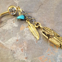 Gold Feather Turquoise Dangle Belly Button Jewelry Ring