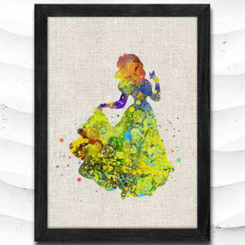 Snow White Disney Princess Watercolor Art Print Home Decor Giclee Wall Art Poster Wall Decor Art Home Decoration Linen Poster CAP11