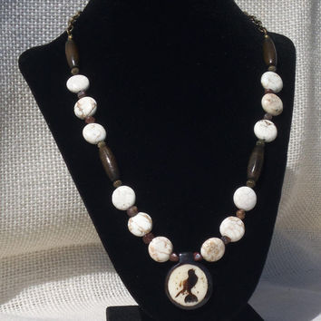 Magnesite and Pietersite with Wood Beads and Bone Bird Focal Intended to Inspire Spiritual Awareness and Transformation