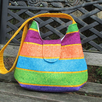 Medium Size Shoulder Bag , Striped Shoulder Bag ,  Purple Green And Yellow Purse