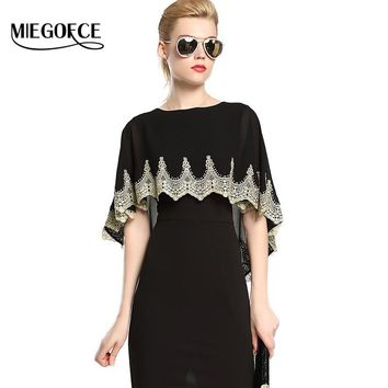 Women Elegant Dress in European Style Female Dresses with Drape Round Collar Fitted Tunic MIEGOFCE New Spring Autumn Collection
