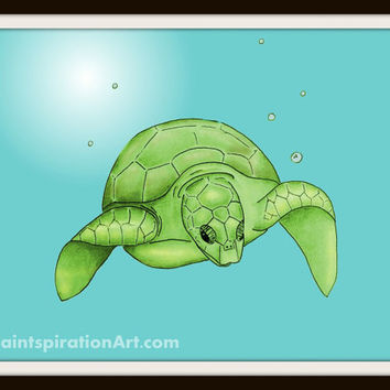 Sea Turtle Art Printable Art Wall Decor - Beach Theme Decor - Nautical Nursery Art - Animal Prints - Kids Room Decor Bathroom Art Print