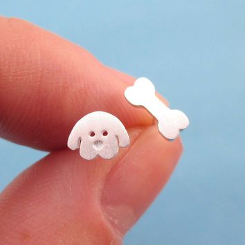 Cartoon Puppy Dog Face and Bone Shaped Stud Earrings in Silver | DOTOLY