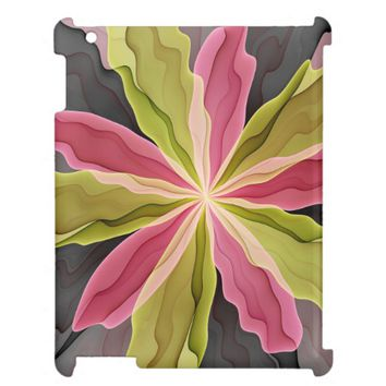 Joy, Pink Green Anthracite Fantasy Flower Fractal iPad Covers