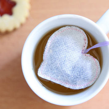 Pink Heart Shaped Tea Bags / Mother Day, Wedding Favors, Baby Shower Favors, Bridal Shower Favors, Tea Party Favors, Coffee, Tea, Cocktails