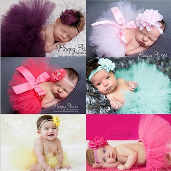 1 Set Newborn Yarn skirt e skirt and chiffon flower headband  Hair Accessories  for photo shooting Photography