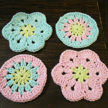 Crochet Coaster - African Flower Coasters - Set of Four Candy Floss Coasters or Face Scrubbies