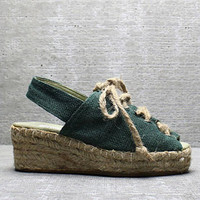 Vtg 80s Green Burlap Cut Out Chunky Platform Lace Up Espadrilles Sandals 5 M