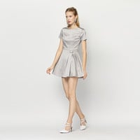 Casual Gray Pleated Mini Skater