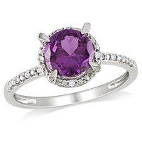 0.05 CT  Diamond TW And 1 5/8 CT TGW Created Alexandrite Fashion Ring 10k White Gold GH I2;I3