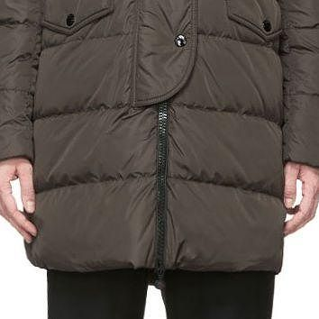 Moncler Olive Green Fur-trimmed Quilted Fragon Parka