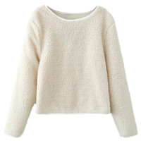 ROMWE Fluffy Long Sleeves White Jumper