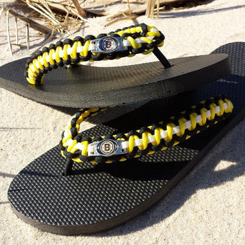 Womens Custom Bruins Flip Flops, Boston Bruins Flip Flops, Custom Hockey Flip Flops, Bruins Sandals, Boston Bruins Sandals, Boston Baby