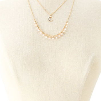 Layered Crescent Charm Necklace