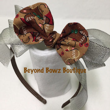 New product to my shop! Headband Bowz! Fabric bows with ribbon. On a rigid type headband. Christmas gingerbread bow fabric.