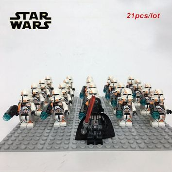 Star Wars Force Episode 1 2 3 4 5 NEW 21PCS/LOT  Airborne Clone Trooper Army sw523 Darth Vader Minifig  compatible legoe 75036 kid block toys AT_72_6