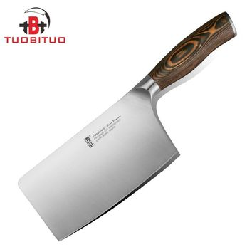 "TUOBITUO 6""(88mm width) Chopping Knife Chinese Professional Butchers Boning Knives Can Cut Frozen Meat and Bone Pakkawood Handle"