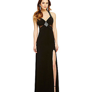 Blondie Nites Contrast Lining Illusion Gown | Dillards.com