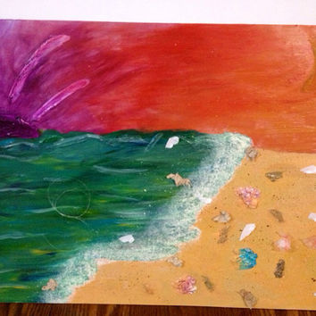 When The Sky Turned Orange - Acrylic & Mixed Media Canvas board - Landscape Surrealism Painting - Environmental Cause Art