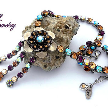Swarovski Crystal Statement Necklace, Focal Flower, 8mm Fall Colors, Topaz, Erinit Green, Amethyst, NEW Shimmer Crystals, JOSEPHINE